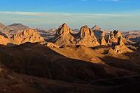 Sunset view from Assekrem, volcanic rocks, landscape of Atakor, Hoggar, Ahaggar Mountains, Wilaya Tamanrasset, Algeria, Sahara, North Africa