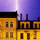 Lighting strikes over buildings in Plagwitz, Leipzig, Saxony, Germany