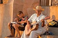 street musician Emerito Escalante Ramos in the old town of Trinidad, Cuba, Caribbean