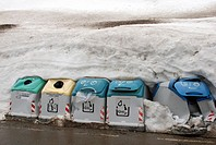 France, Portalet, Garbage containers in winter