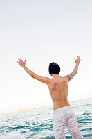 Man on Beach with Hands up