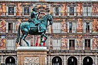 Equestrian statue, monument to king Philip III, Plaza Mayor, Madrid, Spain