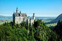 Neuschwanstein Castle was built by King Ludwig II, Fuessen, Schwangau, Allgaeu, Bavaria, Germany.