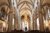 Nave of Santa Maria Novella Church in Florence; Italy.