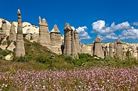 Tuff rock formations or fairy chimneys in the Love Valley near Uchisar, UNESCO World Heritage site Göreme National Park and the Rock Sites of Cappadoc...