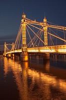 Albert Bridge on the river Thames,connecting Chelsea and Battersea on the south , London,England.4,000 bulbs illuminate Albert Bridge at night.