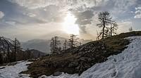 Sunset on Kleiner Pyhrgas in Kalkalpen National Park. Austria.