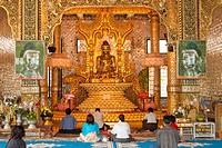 Nan Oo Buddha in Nan Oo Buddha Hall at Botataung Pagoda, Yangon, (Rangoon), Myanmar, (Burma).