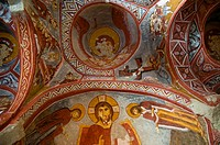 Frescoe of Jesus in the Carikli Church Church of Sandals at Goreme Open Air Museum. Cappadocia, Central Anatolia, Turkey.