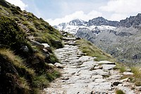 Path from Valsavarenche to the Refuge Vittorio Emanuele II, 2735m, National Park, Natural Park, Gran Paradiso, Val d'Aosta, Italy.