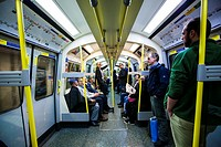 Interior view from a tube, district line, London, UK