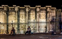 Corinthian columns of the west wall ruins of the Hadrian's Library in the Roman Agora in Athens, Greece.