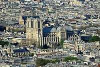 Aerial view of Notre Dame Cathedral in Paris,France,Europe.