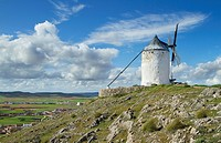 Typical windmill in Consuegra village, in the Route of Don Qiuijote, Toledo province, Castilla-La Mancha, Spain.