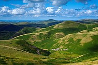 Scotland, Scottish Borders, English Border / Northumberland National Park. Looking towards Lamb Hill and the Northumberland Cheviot Hills in England f...