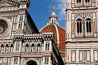 The Duomo and Campanile are two of the iconic Renaissance buildings in the centre of Florence Italy.