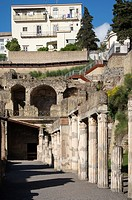 Row of Pillars in Herculaneum, Campania, Italy.