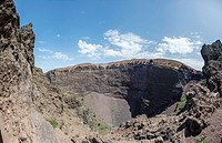 Crater of Mount Vesuvius in Mount Vesuvius National Park, Campania, Italy.