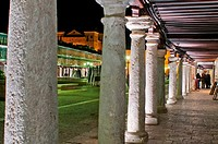 Plaza Mayor in Almagro, night, Ciudad Real district, Castilla La Mancha, Spain.