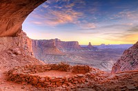 Evening light on False Kiva, Island in the Sky, Canyonlands National Park, Utah USA.