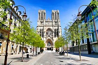 Looking at the Approach to Cathedrale Notre-Dame de Reims, Reims, France.