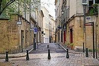 Small Town Square Bordering Rue Matheron, Aix-en-Provence, Provence, France on a Reiny April Sunday.