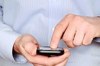 Man Using a Smartphone, Close Up.