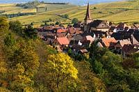 Niedermorschwihr, twisted clock tower, village in the vineyards, colours of autumn, Alsace, France.