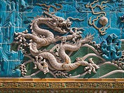 Detail. Nine Dragons Screen. Beihai Park. Beijing. China.