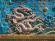 Detail. Nine Dragons Screen. Beihai Park. Beijing. China.