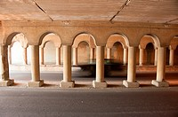 concrete columns in automobile tunnell in memphis tennessee usa.