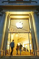 Apple store entrance in Catalonia Square, Barcelona, Catalonia, Spain.