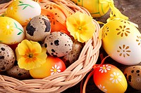 Close-up of Easter and quail eggs in basket.