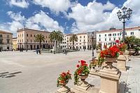 Piazza Italia in Sassari, Sardinia.