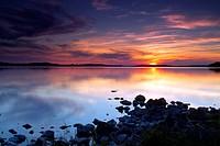 Sunset over Lough Owel, near Mullingar, County Westmeath, Ireland
