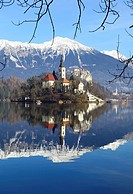 Pilgrimage Church of the Assumption of Mary on Bled Island and Bled Castle Lake Bled Slovenia.