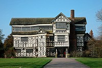 Little Moreton Hall, Cheshire moated 15th-century half-timbered manor house.