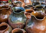 Clay pots at market