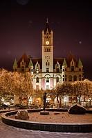 Landmark Center in St. Paul, Minnesota during winter snowfall.