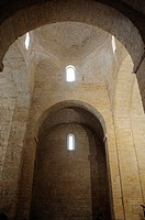 Dome and arches of the Romanesque chapel of the Anunciada eleventh century. Urueña, Valladolid, Spain
