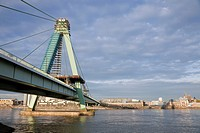 Severinsbrucke (Severins Bridge) across the River Rhine, Cologne, Rhine-Westphalia, Germany.