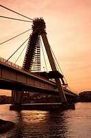 Severinsbrucke (Severins Bridge) at dusk, Cologne, Rhine-Westphalia, Germany.