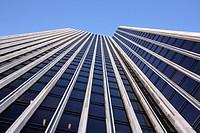 View up the facade of Albany´s landmark Mayor Erastus Corning Tower.