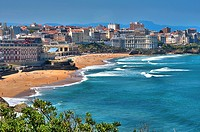The Hotel du Palais in the Great Beach of Biarritz and Congress Center in the background, Basque Coast, Biarritz, Aquitaine, Basque Country, Pyrenees-...