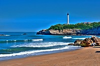 The large beach and the Lighthouse of Biarritz, Basque Coast, Biarritz, Aquitaine, Basque Country, Pyrenees-Atlantiques, 64, France.