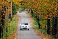 Vermont New England USA fall foliage mountain road with colorful leaves VT.
