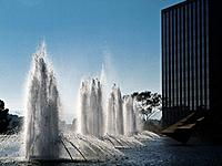 Fountains and pool next to the department of water and power building in downtown Los Angeles.