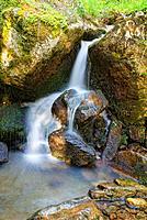 Waterfall. Puente Ra Stream. Sierra Cebollera Natural Park. Villoslada de Cameros. Logroño Province. La Rioja. Spain.