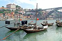 Porto (Portugal). Typical vessels for the transport of barrels on the Douro River from the city of Oporto.