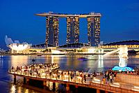 Merlion Park with Marina Bay Sands Hotel at the background, Singapore.